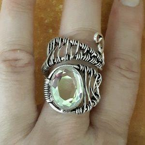 New Unique Mystic Topaz Thumb Ring.
